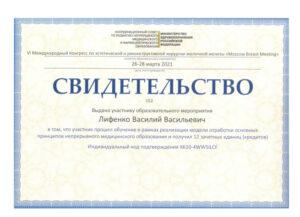 Сертификат Лифенко Василий Васильевич