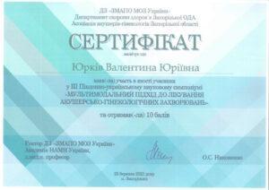 Сертификат Валентина Юркив
