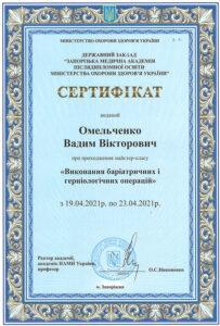 Сертификат Омельченко Вадим Викторович