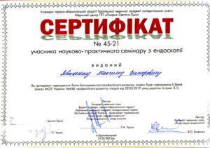 Сертификат Левицкий Максим Викторович